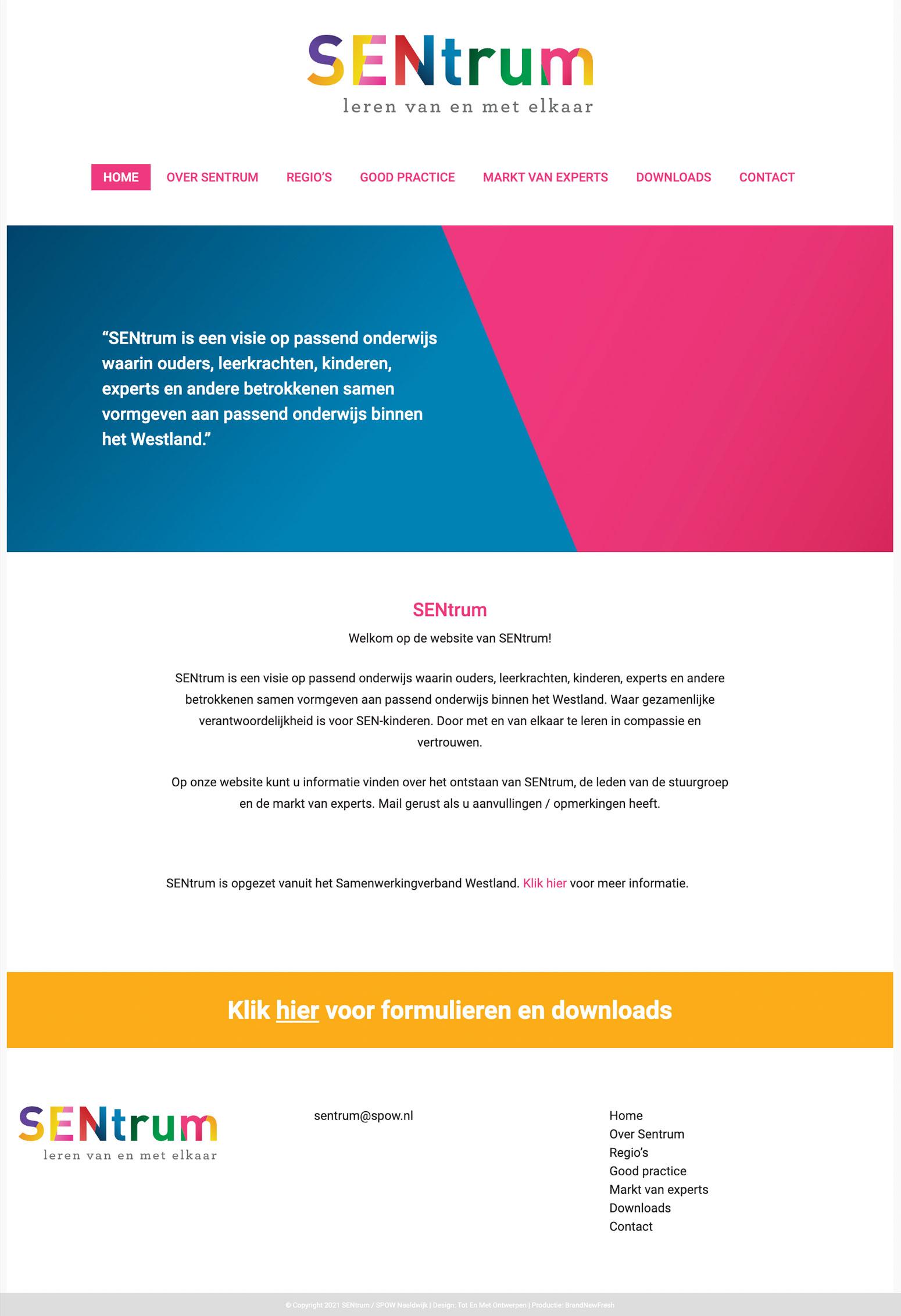 Website voor Sentrum door BrandNewFresh