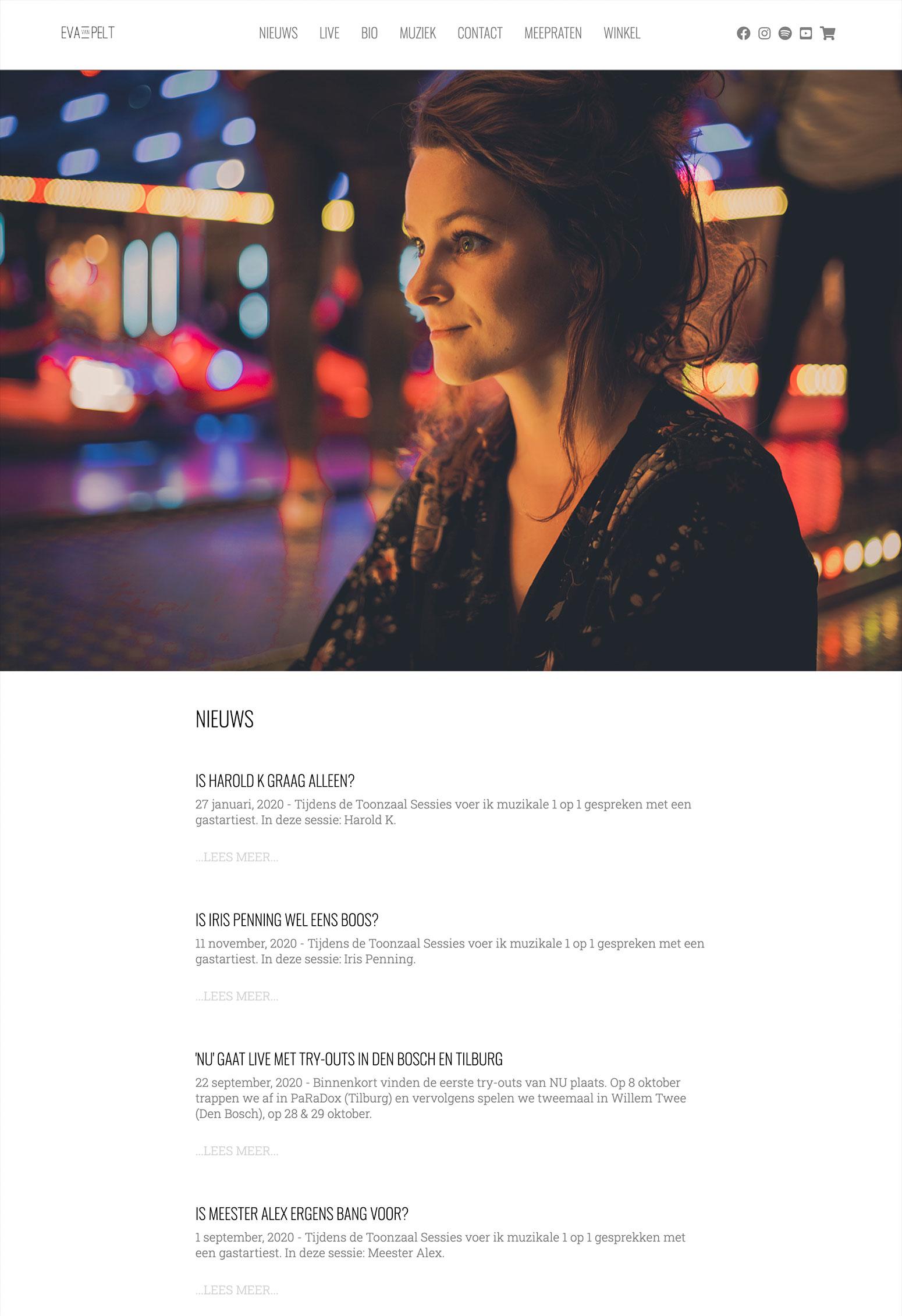 Website voor Eva van Pelt door BrandNewFresh