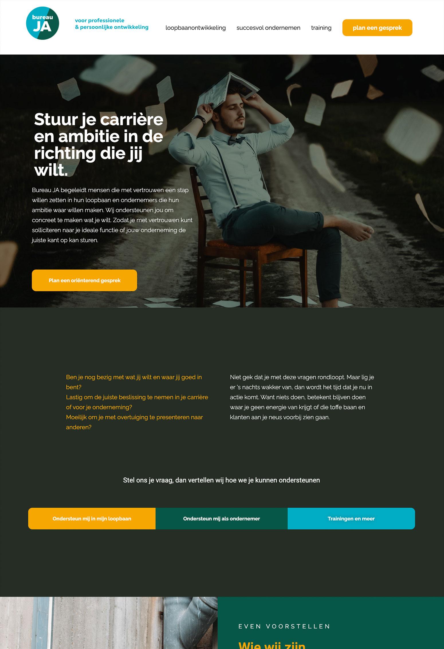 Website voor Bureau JA door BrandNewFresh