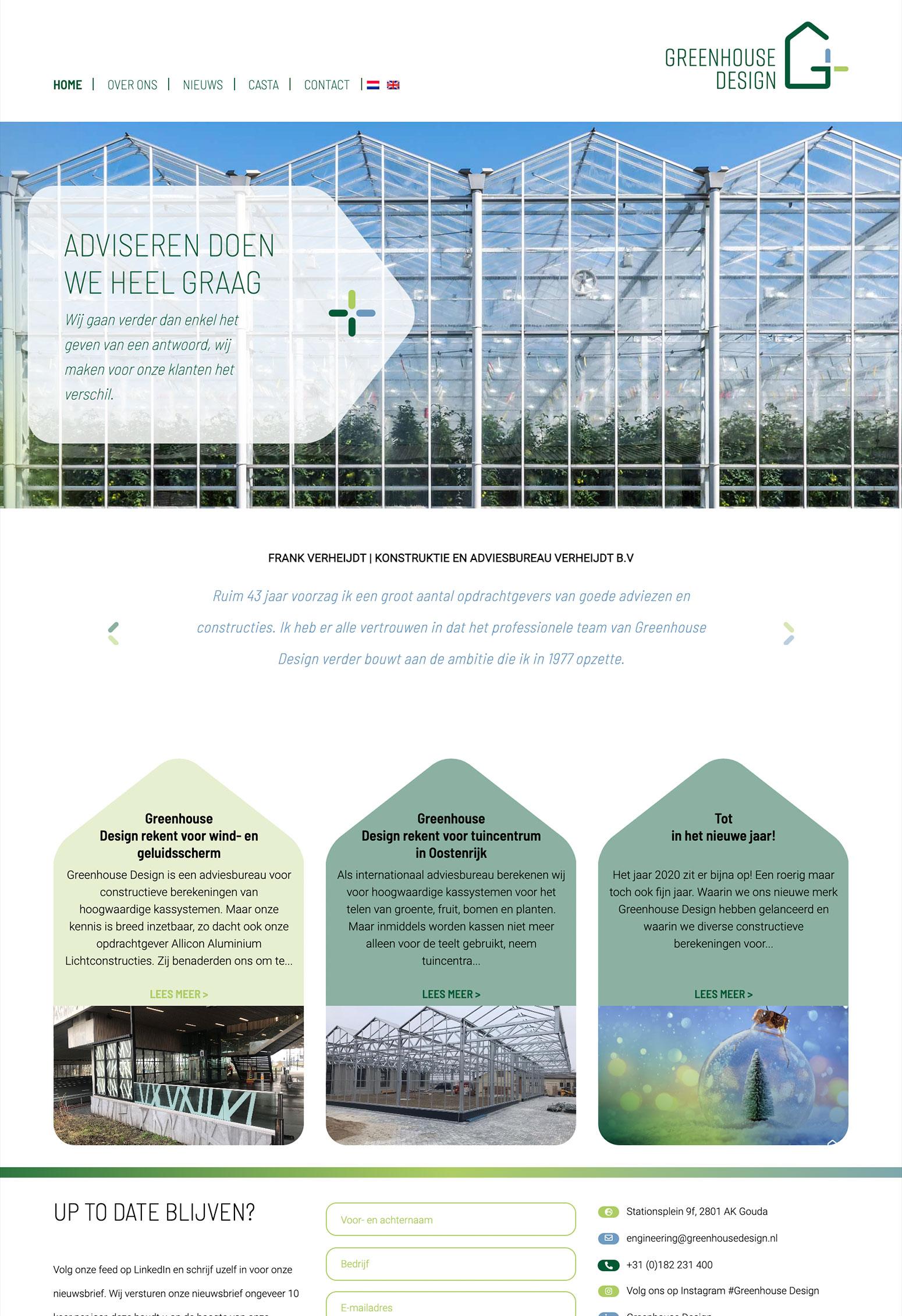 Website voor Greenhouse Design door BrandNewFresh