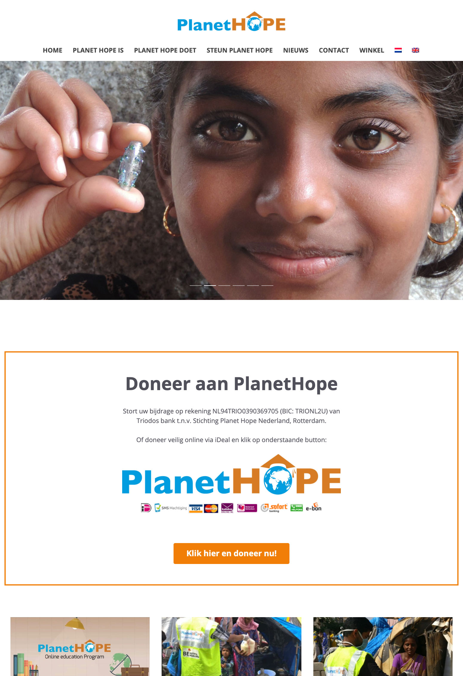 Website voor Planet Hope door BrandNewFresh