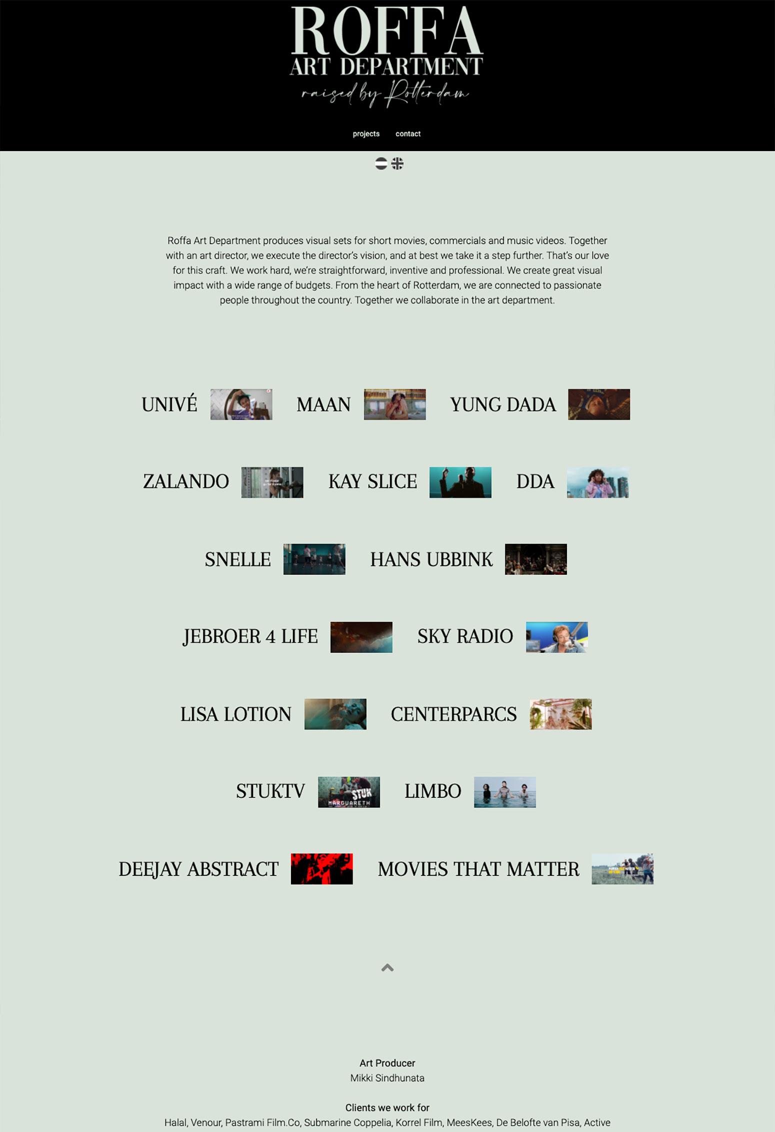 Website voor Roffa Art Department door BrandNewFresh
